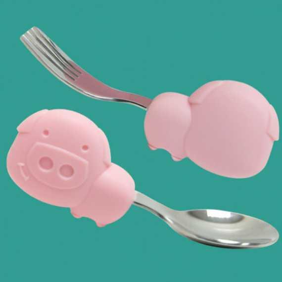 Marcus Marcus Palm Grasp Spoon & Fork Set POKEY Pink Piglet