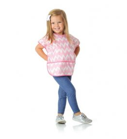 Bumkins Short Sleeved Bibs Pink Chevron