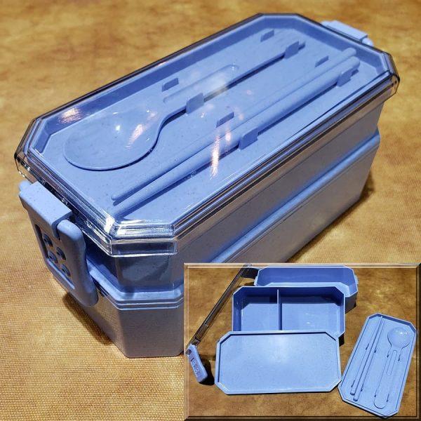 ECOmended Wheat Fibre Tier-2 Bento Lunch box Blue