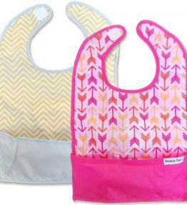 GOBIB TRAVEL FEEDING BIB 2-PACK Bright Arrows and Yellow Tiny Chevron