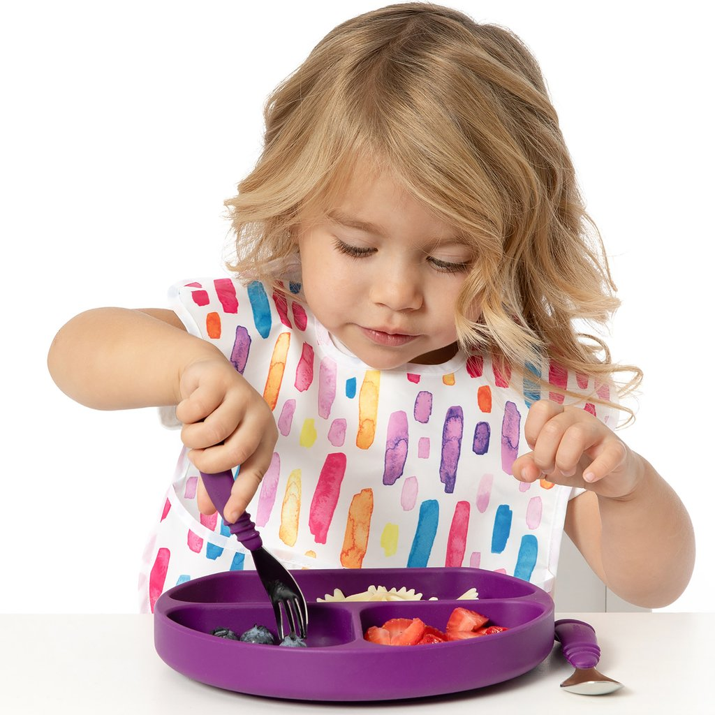 Bumkins Silicone Suction Plate for Toddler Purple