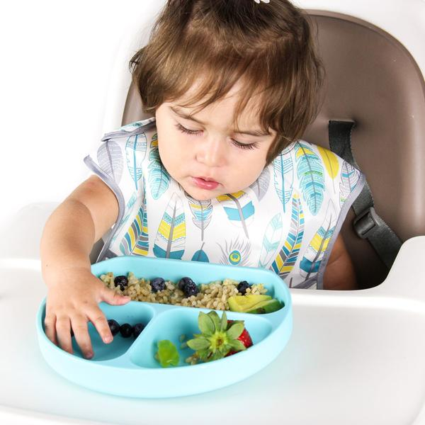Bumkins Silicone Suction Plate for Toddler Blue