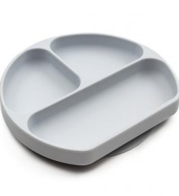 Bumkins Silicone Suction Plate for Toddler Grey