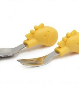Marcus Marcus Palm Grasp Spoon & Fork Set LOLA Yellow Giraffe