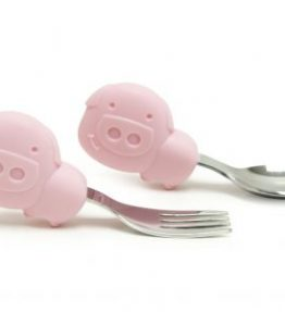 Marcus Marcus Palm Grasp Spoon & Fork Set POKEY Pink Piglet