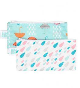 Bumkins Reusable Snack Bag – Small – 2 Packs Raindrops Umbrella