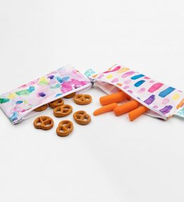 Bumkins Reusable Snack Bag – Small – 2 Packs Watercolour Brushstroke