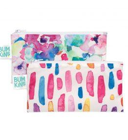 Bumkins Reusable Snack Bag – Small – 2 Packs Watercolour Brushstroke