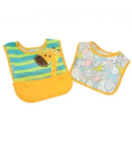 marcus marcus travel bib lola yellow girrafe