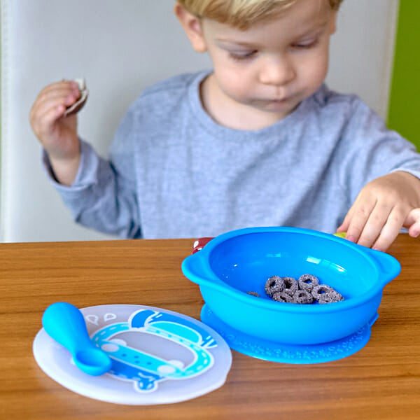 marcus marcus suction bowl with lid lucas blue hippo