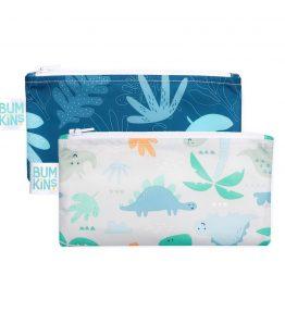 Bumkins Reusable Snack Bag – Small – 2 Packs – Dino Blue-Tropic