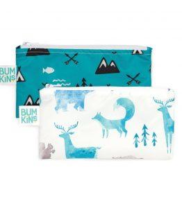 Bumkins Reusable Snack Bag – Small – 2 Packs – Outdoor Wildlife