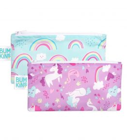 Bumkins Reusable Snack Bag – Small – 2 Packs – Unicorn Rainbow