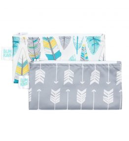 Bumkins Reusable Snack Bag – Small – 2 Packs – Feathers Grey-Arrow